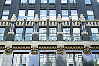 New York: American Radiator Building, Facade. Raymond Hood, 1924. Rene Paul Chambellan was hired to do ornamentation and sculptures. Photo '91.