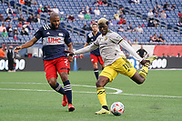 FOXBOROUGH, MA - MAY 16: Gyasi Zardes #11 Columbus SC takes a shot at the New England goal during a game between Columbus SC and New England Revolution at Gillette Stadium on May 16, 2021 in Foxborough, Massachusetts.