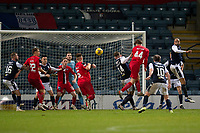 19th December 2020; Dens Park, Dundee, Scotland; Scottish Championship Football, Dundee FC versus Dunfermline; Paul Watson of Dunfermline Athletic wins the header in the box and scores for 3-1 in the 77th minute