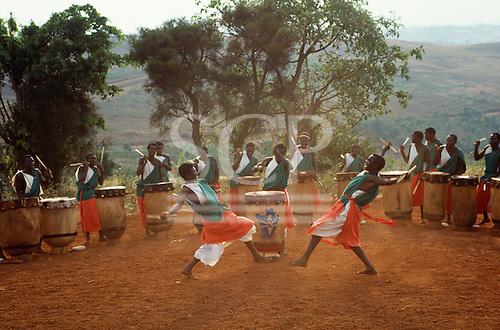 Burundi. Dancers and drummers from a traditional Burundi group performing in the open air.