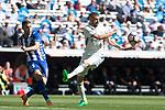 Theo Hernandez of Club Deportivo Alaves and Karim Benzema of Real Madrid during the match of  La Liga between Real Madrid and Deportivo Alaves at Bernabeu Stadium Stadium  in Madrid, Spain. April 02, 2017. (ALTERPHOTOS / Rodrigo Jimenez)