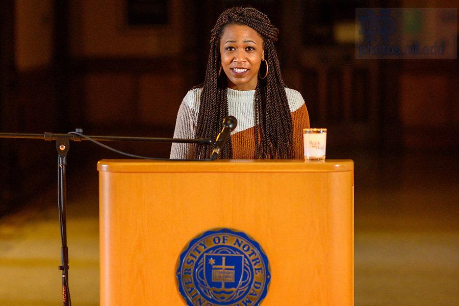 February 17, 2021; Lyons Hall rector Kayla August records a reading for the 2021 Walk the Walk Week program. The annual event was modified from an in-person gathering to a recorded presentation due to ongoing COVID-19 protocols. (Photo by Matt Cashore/University of Notre Dame)