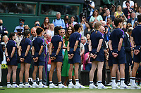 10th July 2021. Wilmbledon, SW London England. Wimbledon Tennis Championships 2021, Ladies singles final Ashleigh Barty versus  Karolina Pliskova (Czech); Duchesse Kate Middleton speaks to the ball boys and girls during the presentations