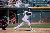 Jose Miguel Fernandez (9) of the Salt Lake Bees bats against the Albuquerque Isotopes at Smith's Ballpark on April 22, 2018 in Salt Lake City, Utah. The Bees defeated the Isotopes 11-9. (Stephen Smith/Four Seam Images)