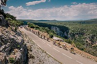 the first breakaway group (of 32 riders) crossing the impressive the Ardêche region with it's deep canyons<br /> <br /> Stage 14: Saint-Paul-Trois-Châteaux > Mende (187km)<br /> <br /> 105th Tour de France 2018<br /> ©kramon