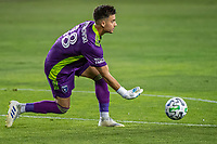 SAN JOSE, CA - OCTOBER 18: JT Marcinkowski #18 of the San Jose Earthquakes distributes the ball during a game between Seattle Sounders FC and San Jose Earthquakes at Earthquakes Stadium on October 18, 2020 in San Jose, California.