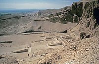 Panoramic view of the Mortuary Temple of Hatshepsut.  Royal architect Senenmut oversaw the construction of the temple.  Deir el Bahari, on the west bank of the Nile near the Valley of the Kings.