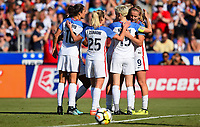 Cary, NC - Sunday October 22, 2017: Allie Long celebrates a goal with her team mates, USWNT during an International friendly match between the Women's National teams of the United States (USA) and South Korea (KOR) at Sahlen's Stadium at WakeMed Soccer Park.