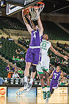 Stephen F. Austin Lumberjacks forward Nikola Gajic (4) and North Texas Mean Green guard Jordan Williams (23) in action during the game between the Stephen F. Austin Lumberjacks and the North Texas Mean Green at the Super Pit arena in Denton, Texas. SFA defeats UNT 87 to 53.