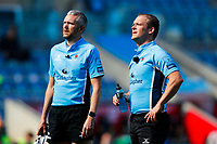25th April 2021; Ricoh Arena, Coventry, West Midlands, England; English Premiership Rugby, Wasps versus Bath Rugby; Referee Ian Tempest and Assistant Referee Simon Harding look up at the big screen during a TMO review