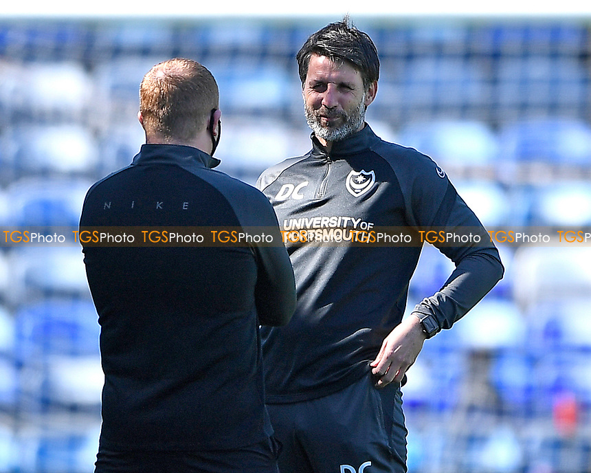 Portsmouth Manager Danny Cowley  right talks to an official during Portsmouth vs Rochdale, Sky Bet EFL League 1 Football at Fratton Park on 2nd April 2021