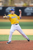 Delaware Blue Hens relief pitcher Kevin Milley (34) in action against the Georgetown Hoyas at Wake Forest Baseball Park on February 13, 2015 in Winston-Salem, North Carolina.  The Blue Hens defeated the Hoyas 3-0.  (Brian Westerholt/Four Seam Images)