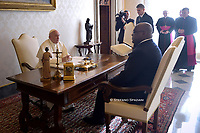 Democratic Republic of Congo's President Felix Tshisekedi Tshilombo and Pope Francis pose for picture after their private audience at the Vatican on January 17, 2020.