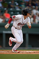 Shortstop Ryan Fitzgerald (24) of the Greenville Drive runs to first base during a game against the Lexington Legends on Sunday, September 2, 2018, at Fluor Field at the West End in Greenville, South Carolina. Greenville won, 7-4. (Tom Priddy/Four Seam Images)