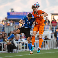 SAN JOSE, CA - JULY 24: Shea Salinas #6 of the San Jose Earthquakes  goes up for a header with Tim Parker #5 of the Houston Dynamo during a game between San Jose Earthquakes and Houston Dynamo at PayPal Park on July 24, 2021 in San Jose, California.