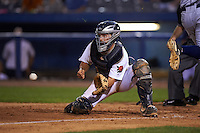 Connecticut Tigers catcher Shane Zeile (59) fields a throw during the first game of a doubleheader against the Brooklyn Cyclones on September 2, 2015 at Senator Thomas J. Dodd Memorial Stadium in Norwich, Connecticut.  Brooklyn defeated Connecticut 7-1.  (Mike Janes/Four Seam Images)