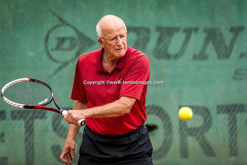 Hilversum, The Netherlands,  August 20, 2021,  Tulip Tennis Center, NKS, National Senior Tennis Championships, Men's 75+,  Bert Bos (NED)<br /> Photo: Tennisimages/Henk Koster