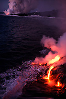 multiple entries of lava flowing into the Pacific Ocean in the pre-dawn hours, Hawaii, USA Volcanoes National Park, Big Island of Hawaii, USA, Pacific Ocean