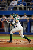 Siena Saints catcher Phil Madonna (3) squares to bunt during a game against the Florida Gators on February 16, 2018 at Alfred A. McKethan Stadium in Gainesville, Florida.  Florida defeated Siena 7-1.  (Mike Janes/Four Seam Images)