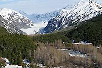 The Alaska Railroad's Coastal Classic train runs past a glacier just north of Seward.