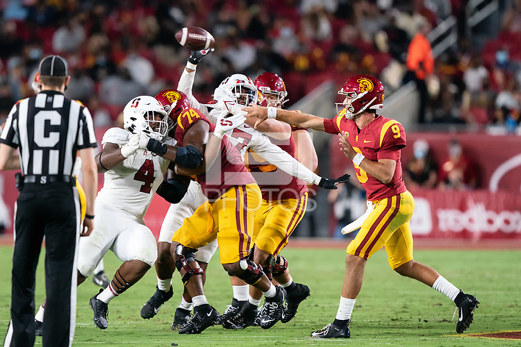 LOS ANGELES, CA - SEPTEMBER 11: Thomas Booker, Tangaloa Kaufusi during a game between University of Southern California and Stanford Football at Los Angeles Memorial Coliseum on September 11, 2021 in Los Angeles, California.