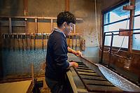 Japan, Okayama Prefecture, Kurashiki. Third generation papermaker, he learned from his grandfather. Uses the mitsumata plant. MR