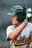 Oakland Athletics outfielder Jaycob Brugman (19) during an Instructional League game against the Arizona Diamondbacks on October 10, 2014 at Chase Field in Phoenix, Arizona.  (Mike Janes/Four Seam Images)
