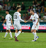 27th March 2021; HBF Park, Perth, Western Australia, Australia; A League Football, Perth Glory versus Newcastle Jets; Roy O'Donovan of the Newcastle Jets celebrates his goal in the 58th minute to make the score 2-1 in Glory's favour with Apostolos Stamatelopoulos