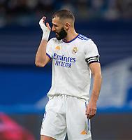 25th September 2021; Estadio Santiagp Bernabeu, Madrid, Spain; Men's La Liga, Real Madrid CF versus Villarreal CF; Karim Benzema disappointed with a missed scoring chance