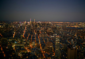 Lower Manhattan<br /> New York, New York<br /> December 25, 2016<br /> <br /> Sunset on New York City, Brooklyn, New Jersey, Statue of Liberty, Empire State Building.