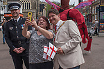 St Georges Day 23rd April 2019, Dartford Kent, Councillor David Mote selfie with local woman 2010s UK