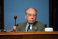 """United States Senator Chuck Grassley (Republican of Iowa), Chairman, US Senate Committee on Finance, holds up a gavel during a hearing on """"COVID-19/Unemployment Insurance"""" on Capitol Hill in Washington on Tuesday, June 9, 2020. <br /> Credit: Caroline Brehman / Pool via CNP/AdMedia"""