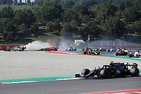 13th September 2020; Mugello race track, Scarperia e San Piero, Tuscany, Italy ; Formula 1 Grand Prix of Tuscany, Race Day;  8 Romain Grosjean FRA, Haas F1 Team, 33 Max Verstappen NLD, Aston Martin Red Bull Racing, *** Local Caption *** Photo: Luca Bruno/AP/FIA Pool via HOCH ZWEI Scarperia Italy Poolfoto HOCH ZWEI/Pool/AP ,EDITORIAL USE ONLY