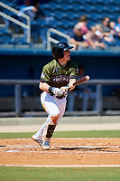 Biloxi Shuckers catcher Tyler Heineman (8) follows through on a swing during a game against the Jacksonville Jumbo Shrimp on May 6, 2018 at MGM Park in Biloxi, Mississippi.  Biloxi defeated Jacksonville 6-5.  (Mike Janes/Four Seam Images)