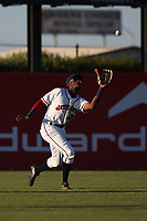 Wes Rogers (24) of the Lancaster JetHawks makes a catch in left field during a game against the Lake Elsinore Storm at The Hanger on June 12, 2017 in Lancaster, California. Lancaster defeated Lake Elsinore, 13-6. (Larry Goren/Four Seam Images)