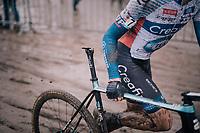 Tim Merlier (BEL/Creafin-TUV) seems to have a problem...<br /> #saddle<br /> <br /> Superprestige cyclocross Hoogstraten 2019 (BEL)<br /> Elite Men's Race<br /> <br /> ©kramon