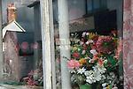 Plastic Flowers domestic window dispay. Chagford Devon UK Nov 2012