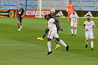 ST PAUL, MN - SEPTEMBER 06: Mason Toye #23 of Minnesota United FC and Nedum Onuoha #14 of Real Salt Lake battle for the ball during a game between Real Salt Lake and Minnesota United FC at Allianz Field on September 06, 2020 in St Paul, Minnesota.