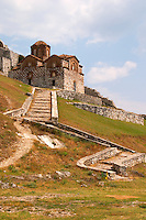 The Hagia Triada Church. Winding steps leading up. Berat upper citadel old walled city. Albania, Balkan, Europe.