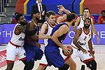 Turkish Airlines Euroleague 2020/2021. <br /> Regular Season-Round 9.<br /> FC Barcelona vs Olympiacos Piraeus: 88-96.<br /> Sasha Vezenkov vs Nikola Mirotic.