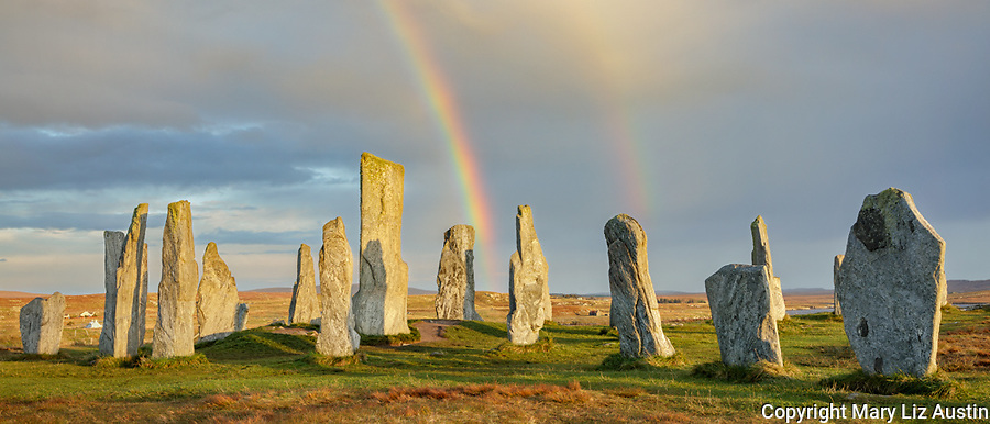 Isle of Lewis and Harris, Scotland: Double rainbow and clearing sky at the Callanish Standing Stones