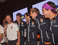 14-sept.-2013,Netherlands, Groningen,  Martini Plaza, Tennis, DavisCup Netherlands-Austria, ,  Dutch Team celebration with students , Ltr: Captain Jan Siemerink, Robin Haase, Jean-Julien Rojer,  Thiemo de Bakker and Jesse Huta Galung <br /> Photo: Henk Koster