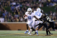 WINSTON-SALEM, NC - SEPTEMBER 13: Michael Carter #8 of the University of North Carolina runs the ball during a game between University of North Carolina and Wake Forest University at BB