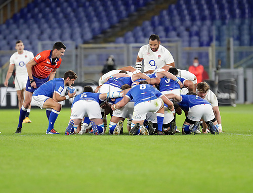 31st October 2020, Olimpico Stadium, Rome, Italy; Six Nations International Rugby Union, Italy versus England;  A scrum put in for Italy