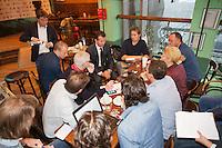 Januari 08, 2015, Rotterdam, ABNAMRO, Coolsingel, ABNAMROWTT Pressconference, tournamen director Richard Krajicek explains in the middle of journalists<br /> Photo: Tennisimages/Henk Koster