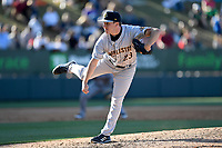 Pitcher Kyle Zurak (23) of the Charleston RiverDogs delivers a pitch in a game against the Greenville Drive on Sunday, April 29, 2018, at Fluor Field at the West End in Greenville, South Carolina. Greenville won, 2-0. (Tom Priddy/Four Seam Images)