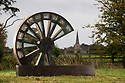 12/10/18<br /> <br /> Wheel by Alex Blakey.<br /> <br /> Robert Brooks, braves stormy weather to unveil the new  sculpture park on the Salt Brook Trail in Hatton, overlooking the Nestlé factory in Derbyshire.<br /> <br /> All Rights Reserved, F Stop Press Ltd. (0)1335 344240 +44 (0)7765 242650  www.fstoppress.com rod@fstoppress.com