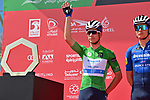 Green Jersey Joao Almeida (POR) Deceuninck-Quick Step at sign on before the start of Stage 3 of the 2021 UAE Tour running 166km from Al Ain to Jebel Hafeet, Abu Dhabi, UAE. 23rd February 2021.  <br /> Picture: LaPresse/Gian Mattia D'Alberto | Cyclefile<br /> <br /> All photos usage must carry mandatory copyright credit (© Cyclefile | LaPresse/Gian Mattia D'Alberto)