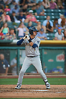 Scott Van Slyke (21) of the New Orleans Baby Cakes bats against the Salt Lake Bees at Smith's Ballpark on June 11, 2018 in Salt Lake City, Utah. New Orleans defeated Salt Lake 6-5.  (Stephen Smith/Four Seam Images)