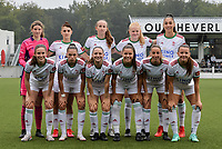 goalkeeper Faye Lammertijn (1) of OH Leuven, Sari Kees (2) of OH Leuven, Amber Tysiak (3) of OH Leuven, Zenia Mertens (6) of OH Leuven, Jill Janssens (7) of OH Leuven, Hannah Eurlings (9) of OH Leuven, Luna Vanzeir (10) of OH Leuven, Estee Cattoor (11) of OH Leuven, Marie Detruyer (17) of OH Leuven, Charlotte Cranshoff (18) of OH Leuven and Linde Veefkind (25) of OH Leuven pictured during a female soccer game between Oud Heverlee Leuven and Eendracht Aalst on the second matchday of the 2021 - 2022 season of Belgian Womens Super League , sunday 29 nd of August 2021  in Heverlee , Belgium . PHOTO SPORTPIX.BE   JILL DELSAUX